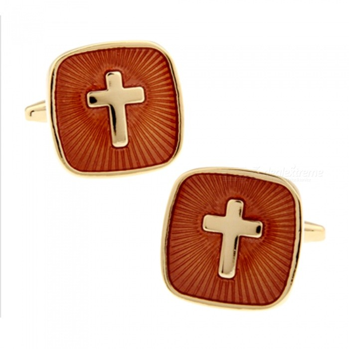 Brass Real Gold Plating Jesus Cross Pattern Men's High-end ...