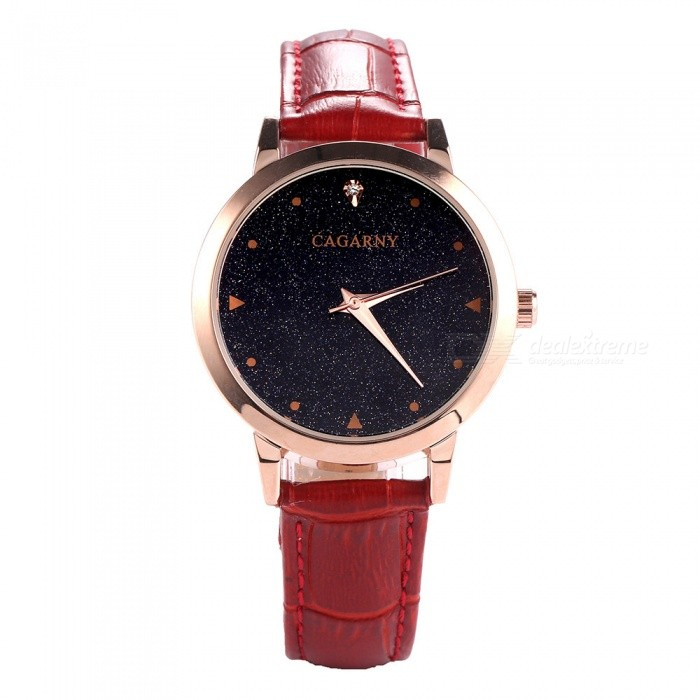 Cagarny Womens Stylish Fashion Quartz Wrist Watch - Rose Gold + RedQuartz Watches<br>Form  ColorRose Gold + RedModel6875Quantity1 DX.PCM.Model.AttributeModel.UnitShade Of ColorGoldCasing MaterialAlloyWristband MaterialPU LeatherSuitable forAdultsGenderWomenStyleWrist WatchTypeFashion watchesDisplayAnalogBacklightNOMovementQuartzDisplay Format12 hour formatWater ResistantWater Resistant 3 ATM or 30 m. Suitable for everyday use. Splash/rain resistant. Not suitable for showering, bathing, swimming, snorkelling, water related work and fishing.Dial Diameter3.6 DX.PCM.Model.AttributeModel.UnitDial Thickness0.9 DX.PCM.Model.AttributeModel.UnitWristband Length25 DX.PCM.Model.AttributeModel.UnitBand Width1.6 DX.PCM.Model.AttributeModel.UnitBattery1 x SR626SWPacking List1 x Watch<br>