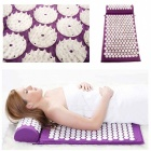 Massage Pad Acupressure Mat + Pillow for Back Neck Body Pain Relief - Purple