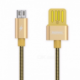 REMAX Spring Metal 2.1A Micro USB to USB Fast Charging Charger Cable, Data Sync Line for Xiaomi, Huawei, HTC 1m/Gold