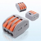 Makerele 222-413 Universal Compact Wiring 3Pin Wire Connector Conductor Terminal Block with Lever AWG 28-12 - 20PCS gray