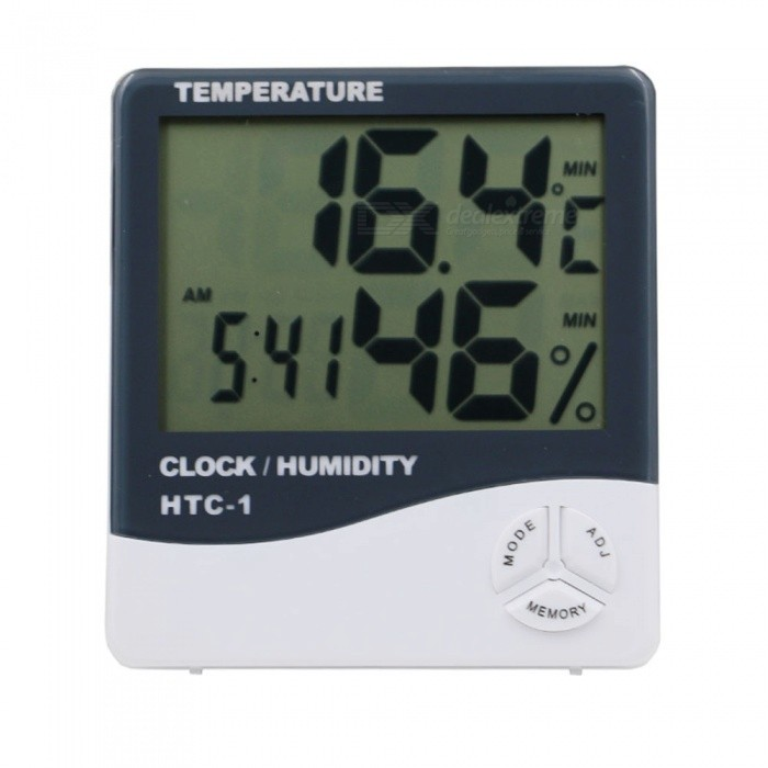 ZHAOYAO HTC-1 Electronic Temperature Humidity Meter, Indoor Room LCD Digital Thermometer Hygrometer Weather Station Alarm ClockDIY Parts &amp; Components<br>Form  ColorWhiteQuantity1 DX.PCM.Model.AttributeModel.UnitMaterialPlasticEnglish Manual / SpecNoCertification-Packing List1 x Thermometer1 x AAA Battery1 x English Manual<br>