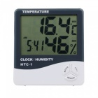 Zhaoyao htc-1 electronic temperature humidity meter, indoor room lcd digital thermometer hygrometer weather station alarm clock