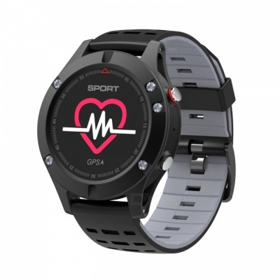 NO.1 F5 Outdoor Sports OLED Color Screen Smart Watch Altimeter with GPS Real Time Heart Rate Monitoring - Black + Grey