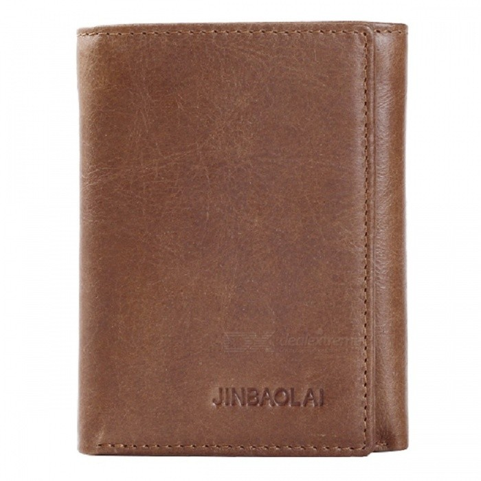 JIN BAO LAI Mens Stylish Three Folding Split Leather Wallet - Light CoffeeWallets and Purses<br>Form  ColorLight CoffeeModel850Quantity1 DX.PCM.Model.AttributeModel.UnitShade Of ColorBrownMaterialTop layer cowhide leatherGenderMenSuitable forAdultsOpeningHaspStyleFashionWallet Dimensions11*8.5*2cmPacking List1 x Wallet<br>