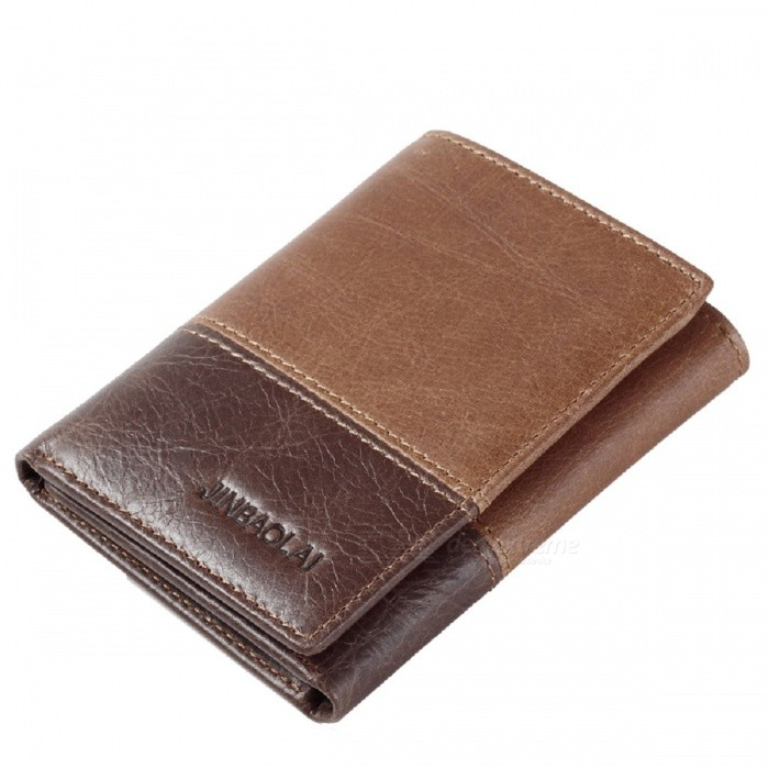 JIN BAO LAI Mens Stylish Three Folding Split Leather Wallet - CoffeeWallets and Purses<br>Form  ColorCoffeeModel851Quantity1 DX.PCM.Model.AttributeModel.UnitShade Of ColorBrownMaterialTop layer cowhide leatherGenderMenSuitable forAdultsStyleFashionWallet Dimensions11*8.5*2cmPacking List1 x Wallet<br>