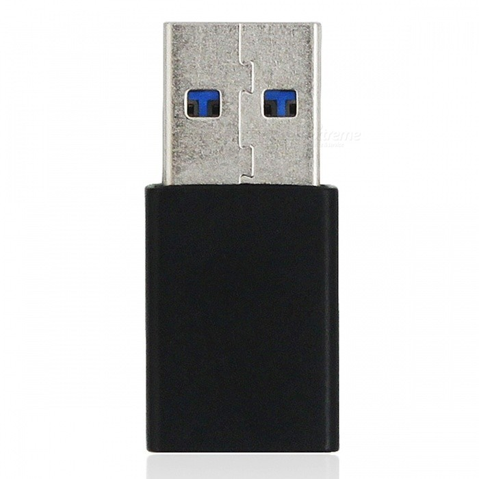 Mini Smile Aluminium Alloy USB 3.1 Type-C Female to USB 3.0 A Male Data Charging Extension Adapter - Black