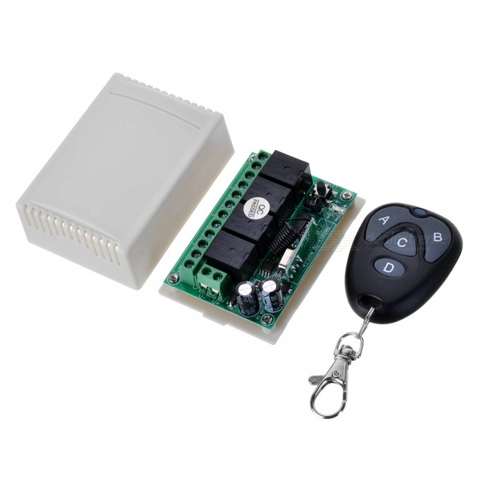 KJ-106-433MHZ-DC12V Four-Way Wireless Electric Switch Remote Controller for Door Garage Gate Car TailgateTransmitters &amp; Receivers Module<br>Form  ColorBlack + MulticolorModelKJ-106-433MHZQuantity1 DX.PCM.Model.AttributeModel.UnitMaterialABS+PCSFrequency433MHzWorking Voltage   12 DX.PCM.Model.AttributeModel.UnitWorking Current10 DX.PCM.Model.AttributeModel.UnitEffective Range50-150mEnglish Manual / SpecNoDownload Link   http://a3.qpic.cn/psb?/V110RK7y4adZoz/t0ed8RA4s6nxPdvEb49CUwn.GGRU.KGbqURByCkqrTM!/m/dPIAAAAAAAAAnull&amp;bo=bgKbAQAAAAARB8Y!&amp;rf=photolist&amp;t=5Packing List1 x Remote control1 x Controller module<br>