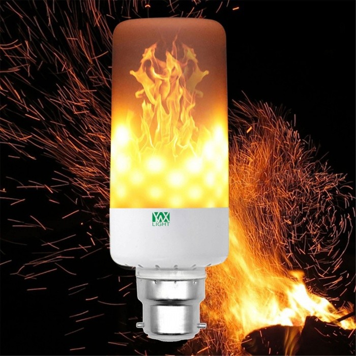YWXLight B22 LED 5W Emulation Flame Light LED Corn Bulb, AC 85-265VOther Connector Bulbs<br>Color BIN B22MaterialPCForm  ColorWhiteQuantity1 piecePower5WRated VoltageAC 85-265 VConnector TypeB22Emitter Type3528 SMD LEDTotal Emitters99Theoretical Lumens500-600 lumensActual Lumens400-500 lumensColor Temperature12000K,Others,1900-2200KDimmableNoBeam Angle360 °Packing List1 x YWXLight LED Flame Light<br>