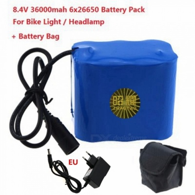 ZHAOYAO High Capacity 8.4V 6 x 26650 Rechargeable Battery Pack with EU Battery Charger, Magic Bag for LED Bike Light Headlamp