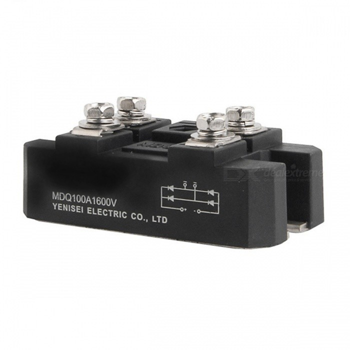 YENISEI MDQ-100A Bridge Rectifier, 100A 1600V Full Wave Diode Module w/ One PhaseDIY Parts &amp; Components<br>Form  ColorBlack + SilverModelMDQ-100AQuantity1 DX.PCM.Model.AttributeModel.UnitMaterialCopper + PC plasticEnglish Manual / SpecNoOther FeaturesMounted Hole Dia. : 6mm / 0.24CertificationROHS.CEPacking List1 x MDQ-100A Bridge Rectifier<br>