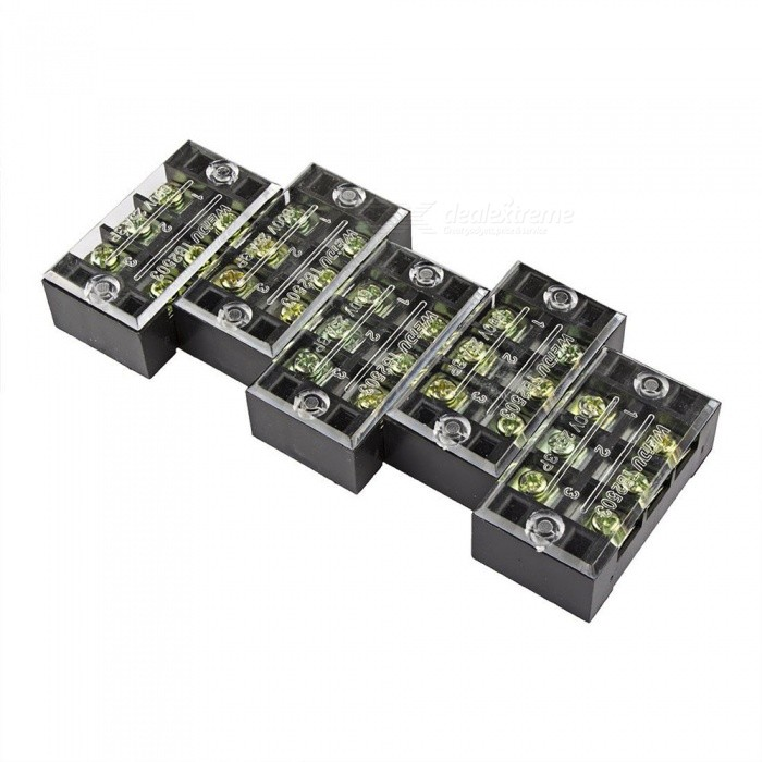 YENISEI TB2503 3-Position Dual Rows 600V 25A Wire Barrier Block Terminal Strip (5 PCS)DIY Parts &amp; Components<br>Form  ColorBlack + Translucent + Multi-ColoredQuantity5 DX.PCM.Model.AttributeModel.UnitMaterialMetal + PVCEnglish Manual / SpecNoOther FeaturesMaximum Rated Voltage: 600V;<br>Maximum Rated Current: 25A;<br>Poles: 3 Positions (Dual Row);CertificationROHSPacking List5 x Barrier Terminal Blocks<br>