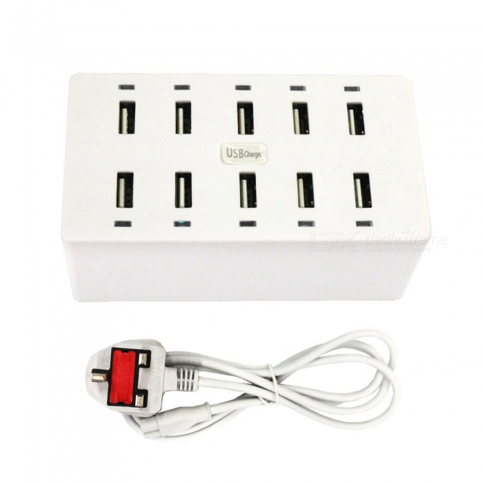 50W 10-Port USB AC 100-240V 10A USB Smart Charging Power Strip - UK PlugPlugs &amp; Sockets<br>Form  ColorUK PlugQuantity1 DX.PCM.Model.AttributeModel.UnitMaterialABSFireproof MaterialYesRate VoltageAC100-240VRated Current10 DX.PCM.Model.AttributeModel.UnitRated Power50 DX.PCM.Model.AttributeModel.UnitCompatible PlugOthers,USBGroundingYesOutlet10 DX.PCM.Model.AttributeModel.UnitWith Switch ControlNoSurge Protection FunctionYesLightning Protection FunctionYesWith FuseYesCable Length1.5 DX.PCM.Model.AttributeModel.UnitPower AdapterUK PlugPacking List1 x USB Power Strip1 x Charging Cable<br>