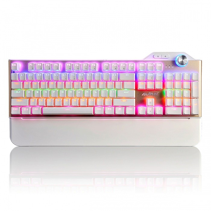Ajazz AK35 Portable Red Axis 104-Key Mechanical USB Wired Gaming Keyboard with Hand Support, RGB Backlight