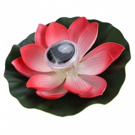 Solar Powered Multi-Colored LED Lotus Flower Lamp, RGB Water Resistant Outdoor Floating Pond Night Light for Garden Pool Red