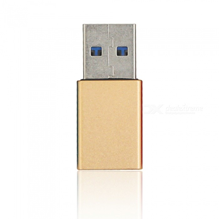 Mini Smile Aluminium Alloy USB 3.1 Type-C Female to USB 3.0 A Male Data Charging Extension Adapter - GoldenLaptop/Tablet Cable&amp;Adapters<br>Form  ColorGoldenModelCU-01Quantity1 pieceShade Of ColorGoldMaterialAluminium alloyInterfaceUSB 3.0,Others,USB 3.1TypeOthers,Tablets/PhonePacking List1 x Adapter<br>