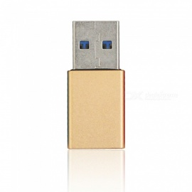 Mini Smile Aluminium Alloy USB 3.1 Type-C Female to USB 3.0 A Male Data Charging Extension Adapter - Golden