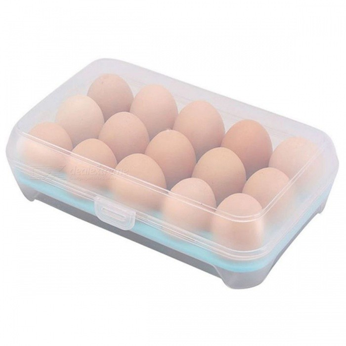 P-TOP 15 Compartment Egg Storage Case Holder Anti-Collision Food Grade ABS Refrigerator Crisper Box Kitchen Supplies - BlueForm  ColorBlueShade Of ColorBlueMaterialABSQuantity1 DX.PCM.Model.AttributeModel.UnitPacking List1 x Egg Container Case<br>