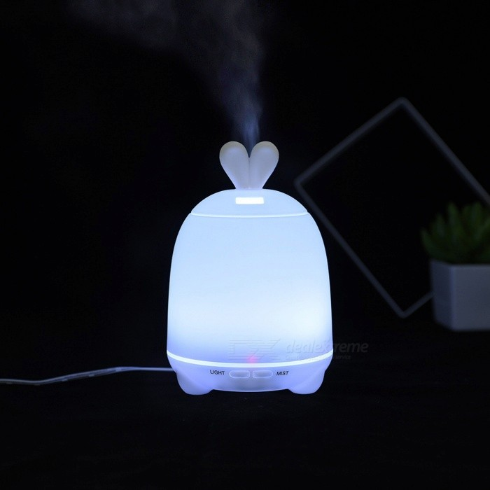 P-TOP100ML Rabbit Style Air Humidifier USB Big Fog Diffuser LED Night Light Mist Maker Power-off ProtectionLED Nightlights<br>Form  ColorWhiteMaterialPPQuantity1 DX.PCM.Model.AttributeModel.UnitPower4WRated VoltageDC 24 DX.PCM.Model.AttributeModel.UnitColor BINRGBEmitter TypeLEDDimmableYesBeam Angle360 DX.PCM.Model.AttributeModel.UnitInstallation TypeOthers,-Packing List1 x Humidifier Diffuser Night Light1 x Adapter1 x Measuring Cup<br>