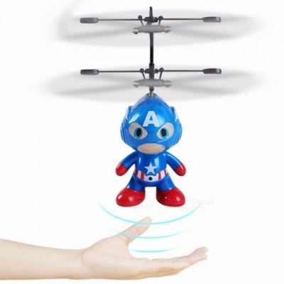 2CH Remote Control Cool Spaceman Style Helicopter Aircraft Toy Mini Drone Indoor Gift Toy for Children Kids Blue