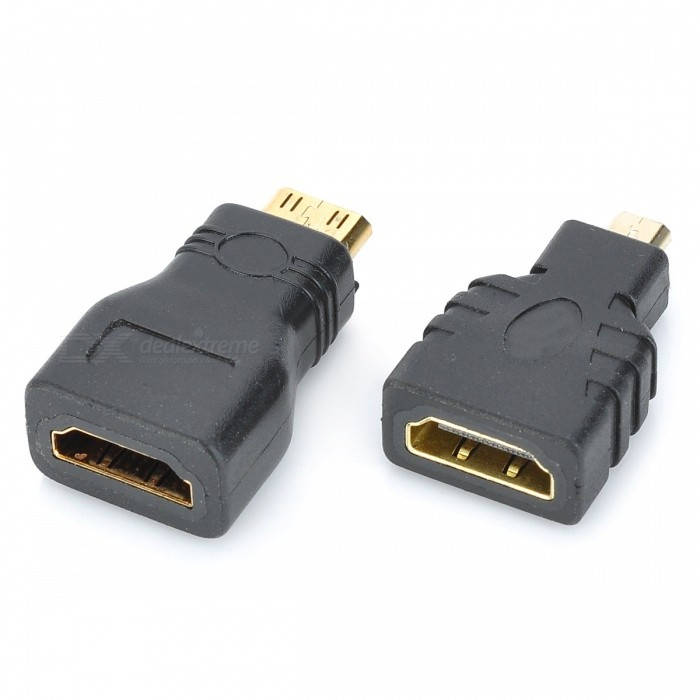 Kitbon Gold Plated Micro HDMI Male to HDMI Female + Mini HDMI to HDMI Coupler Extender Connector AdapterAV Adapters And Converters<br>Form  ColorBlackLengthOtherMaterialPlasticQuantity1 DX.PCM.Model.AttributeModel.UnitConnectorHDMI,Mini HDMI,Micro HDMIPacking List2 x HDMI adapters<br>