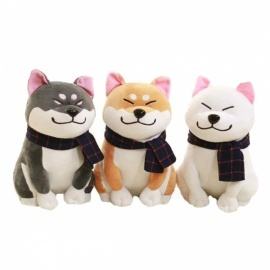 BOOKFONG 25cm/9.84'' Wear Scarf Shiba Inu Dog Plush Toy, Soft Stuffed Dog Toy Good Valentines Gift for Girlfriend gray