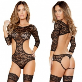 Sexy Perspective Lace Teddy Teddies Dew Back Revealing Hip Sexy Lingeries - Black