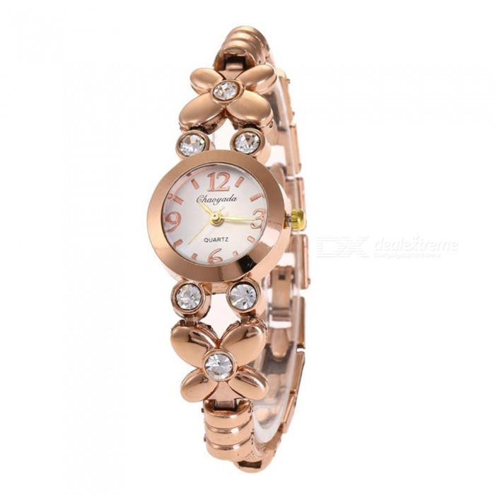Chaoyada 1124 Rhinestone Bracelet Womens Elegant Quartz Watch - Champaign GoldWomens Bracelet Watches<br>Form  ColorRose GoldModel1124Quantity1 pieceShade Of ColorGoldCasing MaterialElectroplating steelWristband MaterialElectroplating steelSuitable forAdultsGenderWomenStyleWrist WatchTypeFashion watchesDisplayAnalogDisplay Format12 hour formatMovementQuartzWater ResistantFor daily wear. Suitable for everyday use. Wearable while water is being splashed but not under any pressure.Dial Diameter2.4 cmDial Thickness0.9 cmBand Width0.9 cmWristband Length20 cmBattery1 x LR626 battery (included)Packing List1 x Watch<br>