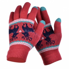 Stylish Knitted Winter Gloves, Riding Cashmere Thickened Warm Full Finger Gloves for Women - Red