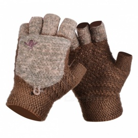 Bumblebee Pattern Velvet Padded Half-Finger Flip Knitted Gloves for Men in Winter, Warm Soft & Feel Comfortable - Khaki