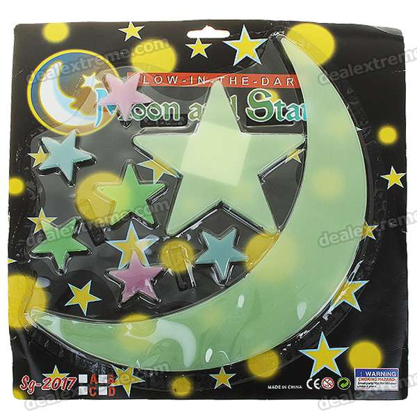 8-in-1 Glow-in-the-Dark Stars & Moon Stickers - Color Assorted (6-Pack)