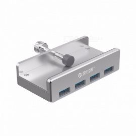 ORICO MH4PU Portable Premium Aluminum 4 Ports USB 3.0 Clip-type HUB for Desktop Laptop, Clip Range 10-32mm Silver