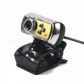 High Quality Portable HD 12MP 3-LED USB Webcam Camera with Microphone & Night Vision for PC Computer  Black