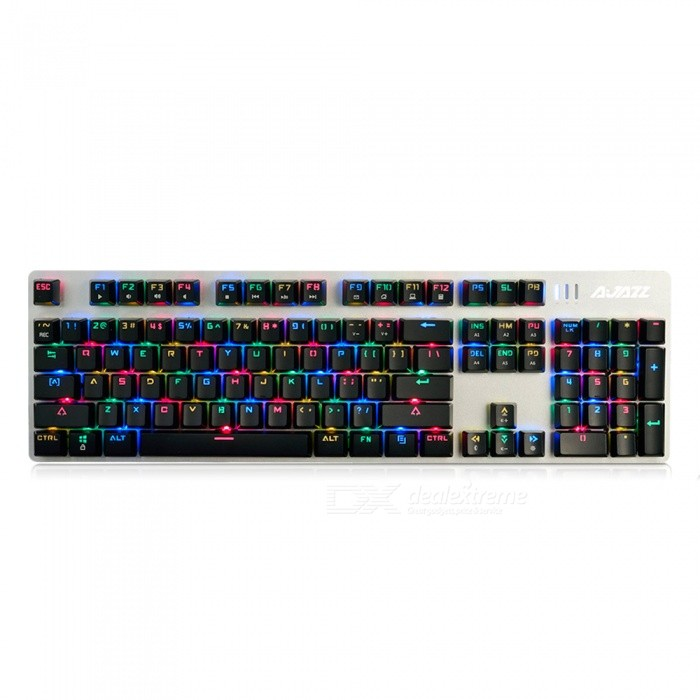 AJAZZ AK52 Alloy Game Mechanical Keyboard with RGB Backlight - Black SwitchGaming Keyboards<br>Form  ColorBlackModelAK52 RGBMaterialPlasticQuantity1 DX.PCM.Model.AttributeModel.UnitInterfaceUSB 3.0,USB 2.0Wireless or WiredWiredBluetooth VersionNoCompatible BrandAPPLE,Dell,HP,Toshiba,Acer,Lenovo,Samsung,MSI,Sony,IBM,Asus,Thinkpad,Huawei,GoogleAxis104Tracking MethodTouch PadBack-litYesPowered ByUSBBattery included or notNoCharging Time0 DX.PCM.Model.AttributeModel.UnitWaterproofNoTypeGaming,ErgonomicSupports SystemWin xp,Win 2000,Win 2008,Win vista,Win7 32,Win7 64,Win8 32,Win8 64,MAC OS XPacking List1 x Keyboard1 x Instruction<br>