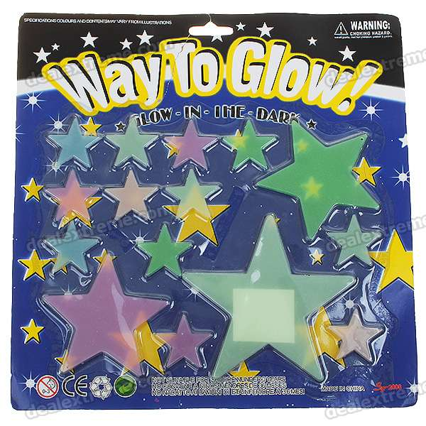 15-in-1 Glow-in-the-Dark Stars Stickers - Color Assorted (6-Pack)