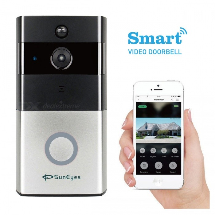 SunEyes SP-DB700W Smart P2P Wireless Video DoorBell Network IP Camera with Wi-FiDoorbells<br>Form  ColorBlack + SilverModelSP-DB700WMaterialABSQuantity1 piecePower AdaptornoPower SupplyOthers,18650Battery included or notNoBattery Number2Power AdapterWithout Power AdapterTransmission MethodWireless,Audio,VideoIR Night VisionYesCamera720P HDCertificationCE,Rohs,FCCPacking List1 x Doorbell Camera1 x Bracket1 x English Manual4 x Screws<br>
