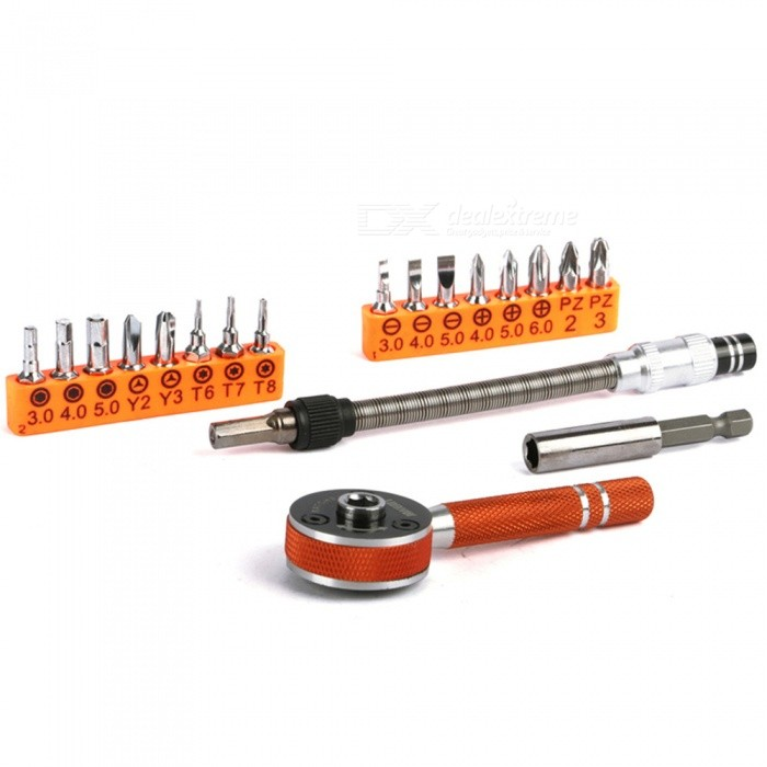 OJADE 19-in-1 Multifuctioal Ratchet Screwdriver Set Bits Slotted Phillips Torx Destornillador KitScrewdriver, Screwdriver Set<br>Form  ColorBlack + OrangeModelJM-6119Quantity1 DX.PCM.Model.AttributeModel.UnitMaterialStainless steelScrew Head TypeOthersPacking List1 x Tool Kits<br>