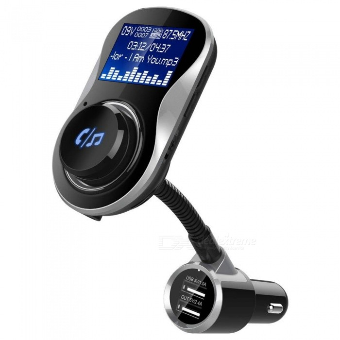 BC26 Car Large Screen Bluetooth Handsfree Calls FM Transmitter Car Charger MP3 PlayerBluetooth Car Kits<br>Form  ColorBlack + MulticolorModelBC26Quantity1 DX.PCM.Model.AttributeModel.UnitMaterialABSFunctionOthers,Handsfree, MP3 Player, FM Transmitter, Power Off Memory Function, A2DPCompatible CellphoneOthers,IPHONE, Motorola, Blackberry, LG, Sumsang, Nokia, SonyEricsson, HTCVoice Prompt LanguageOtherBluetooth VersionOthers,Bluetooth V4.1Transmit Frequency2.4G DX.PCM.Model.AttributeModel.UnitTransmit Distance10 DX.PCM.Model.AttributeModel.UnitMIC Effective Distance2 DX.PCM.Model.AttributeModel.UnitFM Frequency Range87.5-108.0MHzFM Transmit Distance2 DX.PCM.Model.AttributeModel.UnitFrequency Response20Hz-15KhzSNR&gt;60dBTHDCharging Voltage12-24 DX.PCM.Model.AttributeModel.UnitInterface/PortOthers,USB 2.0 TFPacking List1 x Car Handsfree FM Transmitter Kit1 x User Manual<br>