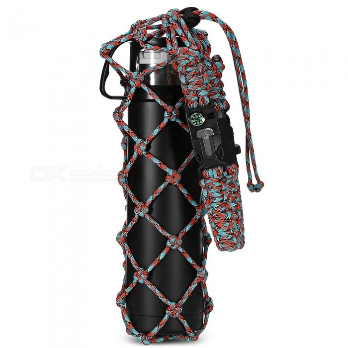 Multi-functional Outdoor 18-Meter Seven-Core Umbrella Belt, 30oz Survival Rope Cup Sleeve w/ Compass, Whistle - Red GreenFirst Aid<br>Form  ColorGreen + Red + Multi-ColoredQuantity1 pieceMaterialSeven core umbrella ropeBest UseFamily &amp; car camping,Mountaineering,TravelTypeCarabiners,HammocksPacking List1 x Cup sleeve<br>