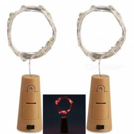 JRLED Koristeellinen Pullon Stopper Style Vesitiivis 2M Red Light 20-LED String Light Akku Powered Lamp-2PCS