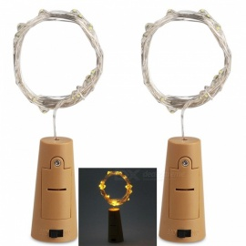 JRLED Decorative Bottle Stopper Style Waterproof 2M Yellow Light 20-LED String Light Battery Powered Lamp - 2PCS
