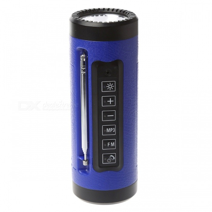 P-TOP 3W 5V Bluetooth Speaker LED Flashlight with Microphone, FM Radio, Power Bank, Built-in TF Card Slot - Blue18650 Flashlights<br>Form  ColorBlueBrandOthers,P-TOPQuantity1 DX.PCM.Model.AttributeModel.UnitMaterialABS+PCOther FeaturesRechargeableLED TypeOthers,LEDEmitter BINothers,N/ANumber of Emitters5Color BINCold WhiteWorking Voltage   3-4.2 DX.PCM.Model.AttributeModel.UnitPower Supply18650Current- DX.PCM.Model.AttributeModel.UnitOutput(lumens)201-500Actual Lumens280 DX.PCM.Model.AttributeModel.UnitRuntime(hours)4.1 and aboveRuntime12 DX.PCM.Model.AttributeModel.UnitNumber of Modes3Mode ArrangementHi,Low,SOSMode MemoryYesSwitch TypeOthers,-Switch LocationSideLensPlasticReflectorPlastic SmoothBeam Range500 DX.PCM.Model.AttributeModel.UnitStrap/ClipStrap includedPacking List1 x Bluetooth Flashlight 1 x USB Charging Cable 1 x Line in Cable1 x Bicycle Handlebar Clip Bandage1 x User Manual (Chinese &amp; English)1 x TF Card<br>