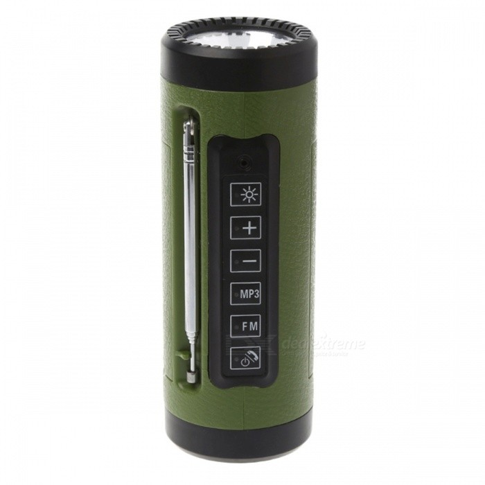 P-TOP3W 5V Bluetooth Speaker LED Flashlight with Microphone, FM Radio, Power Bank, Built-in TF Card Slot - Green18650 Flashlights<br>Form  ColorGreenBrandOthers,P-TOPQuantity1 setMaterialABS+PCOther FeaturesRechargeableLED TypeOthers,LEDEmitter BINothers,N/ANumber of Emitters5Color BINCold WhiteWorking Voltage   3-4.2 VPower Supply18650Current- AOutput(lumens)201-500Actual Lumens280 lumensRuntime(hours)4.1 and aboveRuntime12 hoursNumber of Modes3Mode ArrangementHi,Low,SOSMode MemoryYesSwitch TypeOthers,-Switch LocationSideLensPlasticReflectorPlastic SmoothBeam Range500 mStrap/ClipStrap includedPacking List1 x Bluetooth Flashlight 1 x USB Charging Cable 1 x Line in Cable1 x Bicycle Handlebar Clip Bandage1 x User Manual (Chinese &amp; English)1 x TF Card<br>