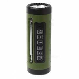 P-TOP3W 5V bluetooth speaker torcia a LED con microfono, radio FM, power bank, slot per schede TF integrato - verde