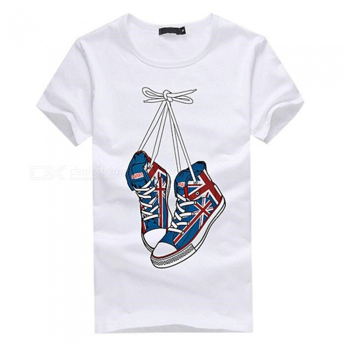 3D Shoes Pattern Fashion Personality Casual Cotton Short-Sleeved Mens T-shirt - White (L)Tees<br>Form  ColorWhiteSizeLQuantity1 DX.PCM.Model.AttributeModel.UnitShade Of ColorWhiteMaterialCottonShoulder Width48 DX.PCM.Model.AttributeModel.UnitChest Girth96 DX.PCM.Model.AttributeModel.UnitSleeve Length19.5 DX.PCM.Model.AttributeModel.UnitTotal Length67 DX.PCM.Model.AttributeModel.UnitSuitable for Height170 DX.PCM.Model.AttributeModel.UnitPacking List1 x Short sleeve T-shirt<br>