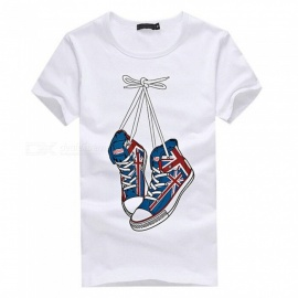 3D Shoes Pattern Fashion Personality Casual Cotton Short-Sleeved Men's T-shirt - White (L)