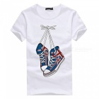 3D Shoes Pattern Fashion Personality Casual Cotton Short-Sleeved Men's T-shirt - White (XL)