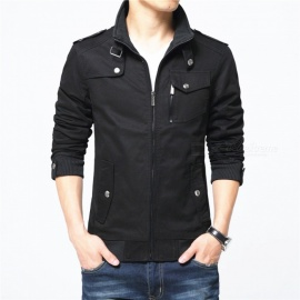 1616 Men's Slim Casual Fashion Zipper Jacket - Black (XL)