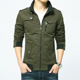 1616 Men's Slim Casual Fashion Zipper Jacket - Green (XL)
