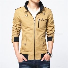 1616 Men's Slim Casual Fashion Zipper Jacket - Khaki (M)